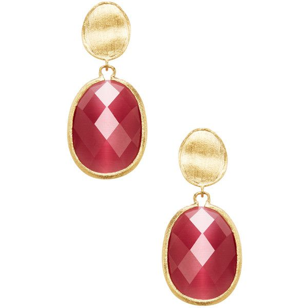 Rivka Friedman Women's Faceted Cat's Eye Crystal Oval Satin Drop... ($55) ❤ liked on Polyvore featuring jewelry, earrings, red, crystal jewelry, rivka friedman earrings, long earrings, oval earrings and drop earrings