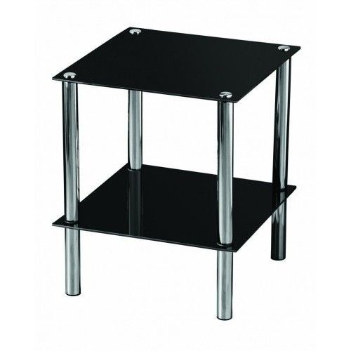 Glass side table black end storage chrome shelf bed lamp coffee glass side table black end storage chrome shelf bed lamp coffee corner reception aloadofball Image collections