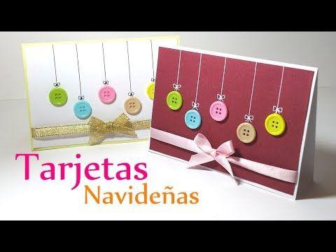 Manualidades para navidad tarjetas de navidad con botones - Manualidades tarjeta navidena ...