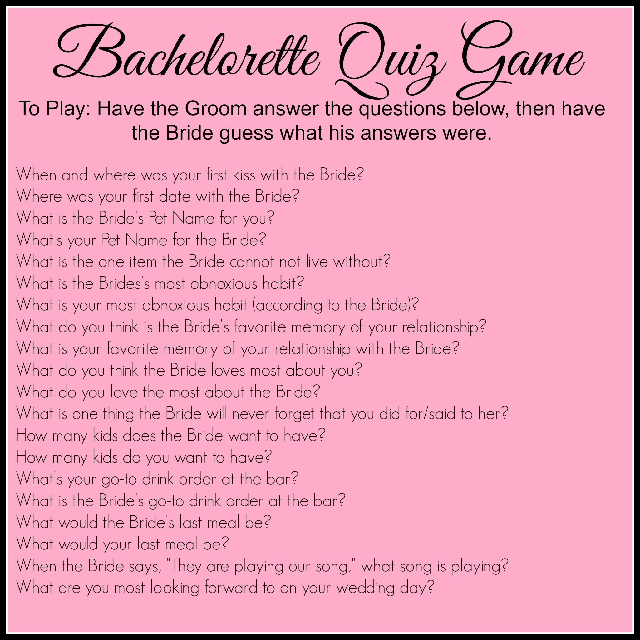 Bachelorette Party Games Pinterest Quiz Game