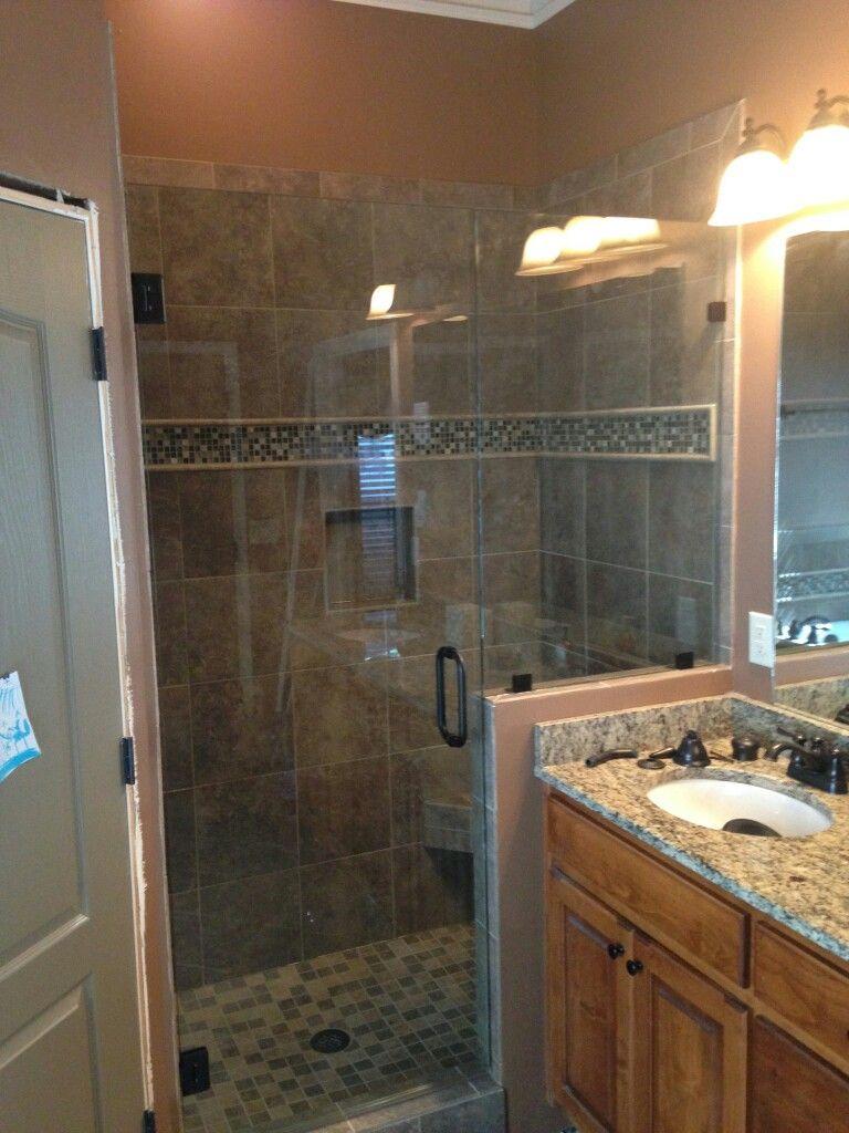 3 8  frameless shower door inline with knee wall panel installed in Sandy  Springs. 3 8  frameless shower door inline with knee wall panel installed