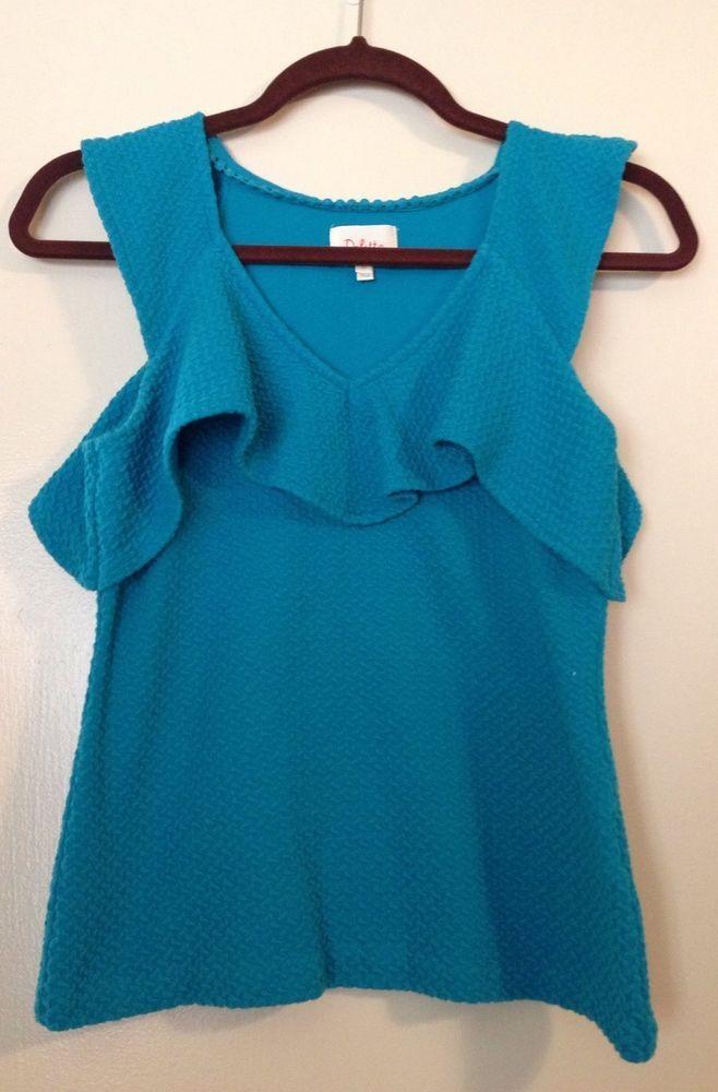 Anthropologie XS Top Deletta Ruffle Trim Tank Blue Shirt Textured Blouse Aqua #Deletta #Blouse #Casual