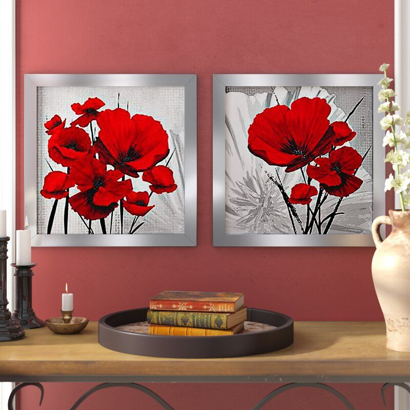 Big Red Poppies 2 Piece Picture Frame Print Set On Paper Framed Wall Art Red Poppies Metallic Wallpaper