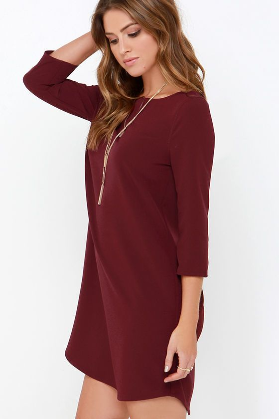 With a dress as easy to wear as the BB Dakota Devin Burgundy Shift Dress.  it will be hard to ever imagine yourself in anything else! 9d1daf2a4