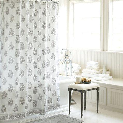 Ava Block Print Shower Curtain Gray Ballard Designs White