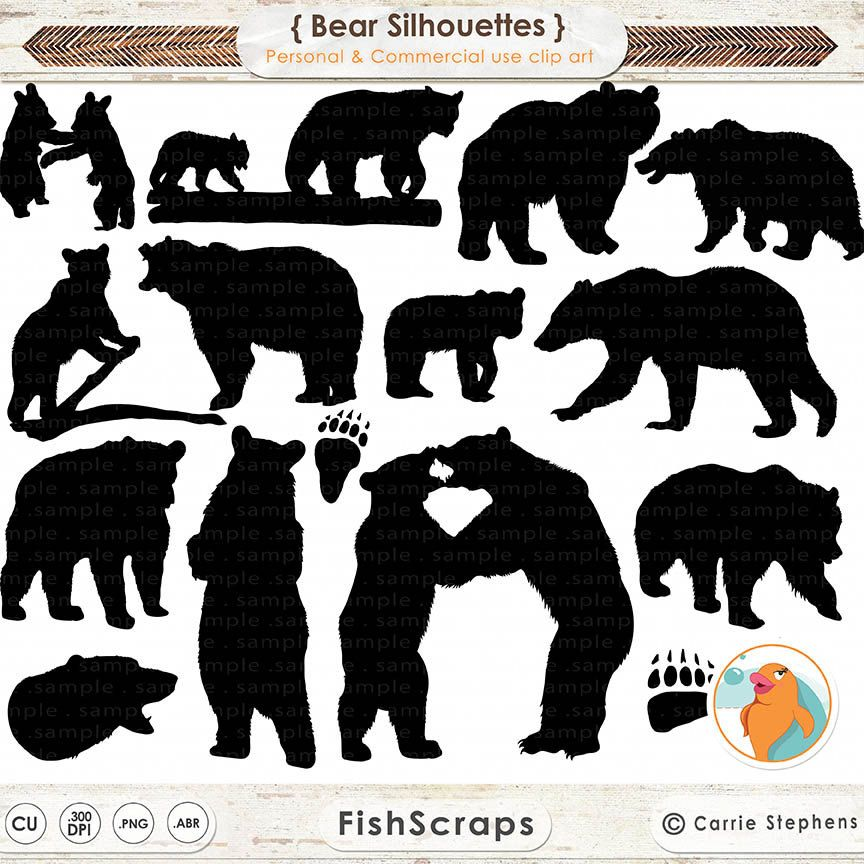 Bear Clip Art Bear Silhouette Images Digital Stamp Animal Clipart Png Photoshop Brush Wilderness Camping Black Bear Hunting In 2021 Bear Silhouette Bear Paw Print Bear Clipart