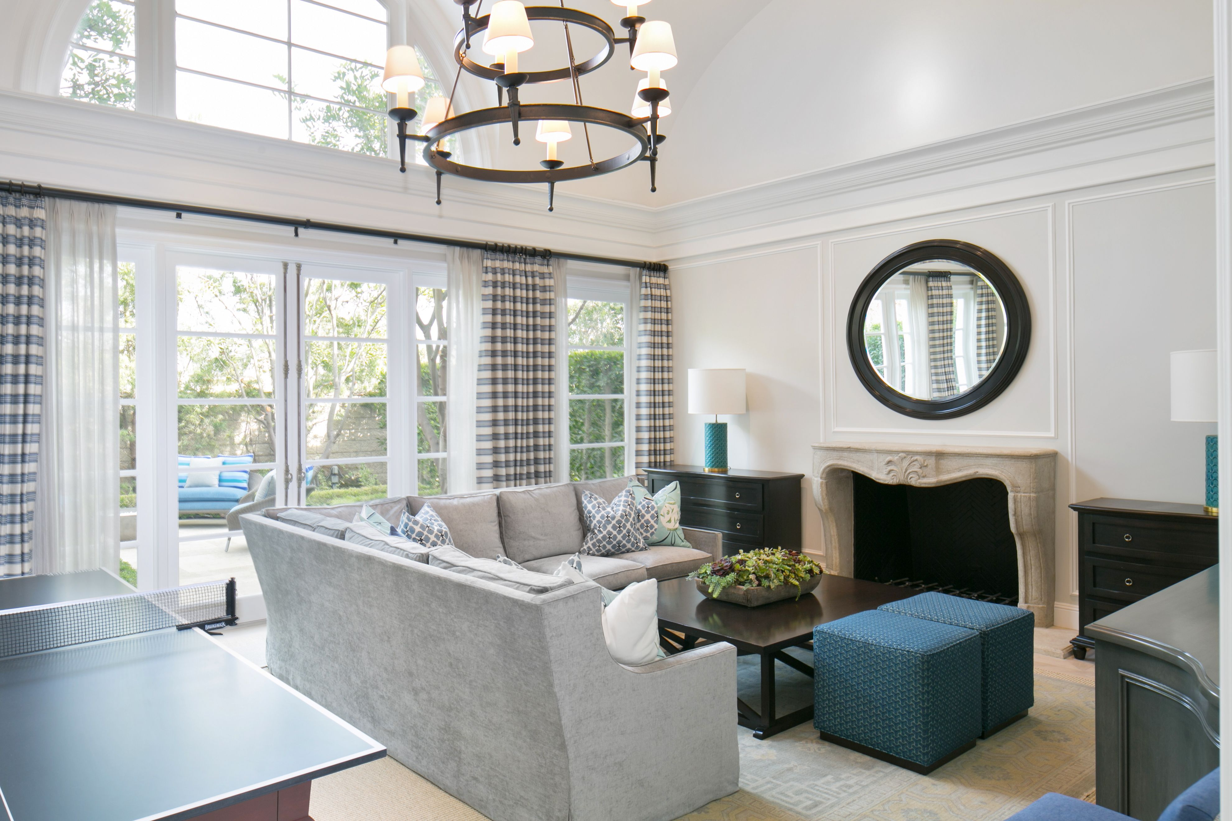 Transitional Living Room With Coastal Vibe And Blue: Coastal Blue Living Room + Great Room + Transitional Home