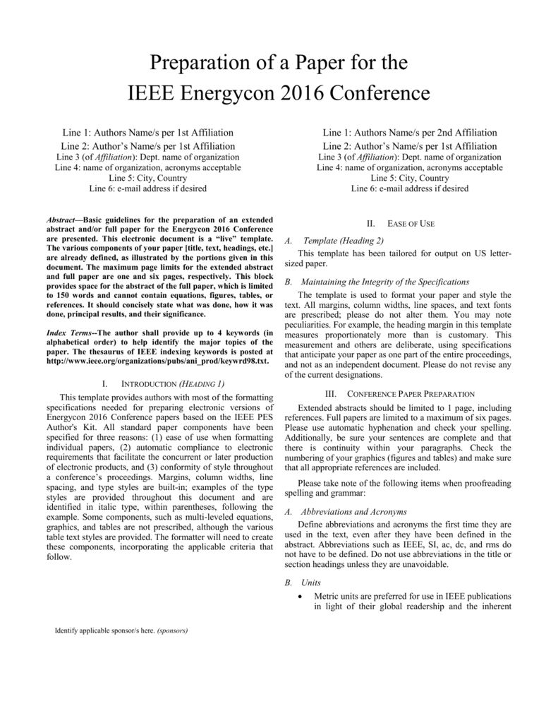 Word Template Ieee Energycon 2016 Intended For Template For Ieee Paper Format In Word Best Template Ideas Word Template Journal Template Best Templates
