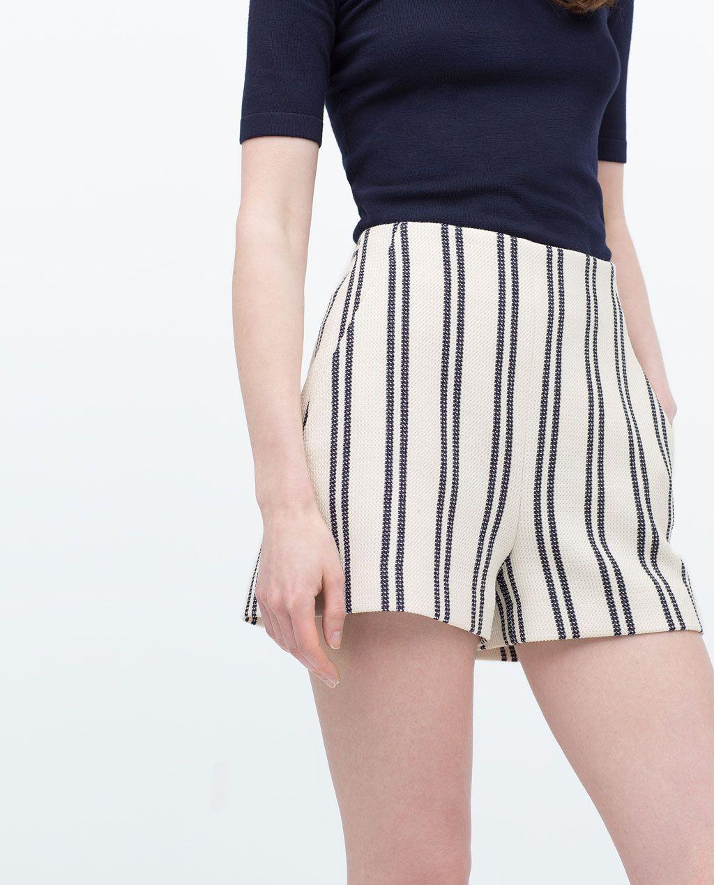 en venta 91320 59e29 HIGH-WAISTED STRIPED SHORTS-Shorts-WOMAN | ZARA United ...