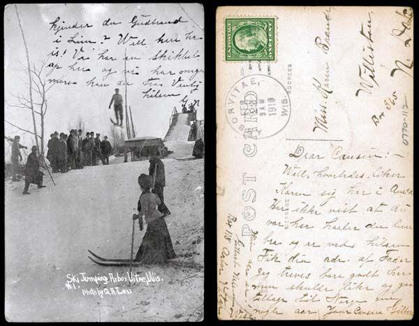 Ski Jumping, Arbor Vitae WI    02-22-1910  State Archives #0770-112