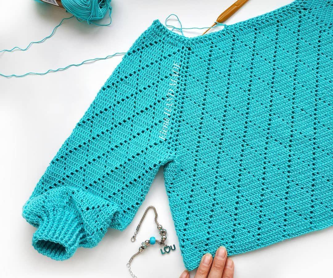 свитер вязаный крючком фото и схема его