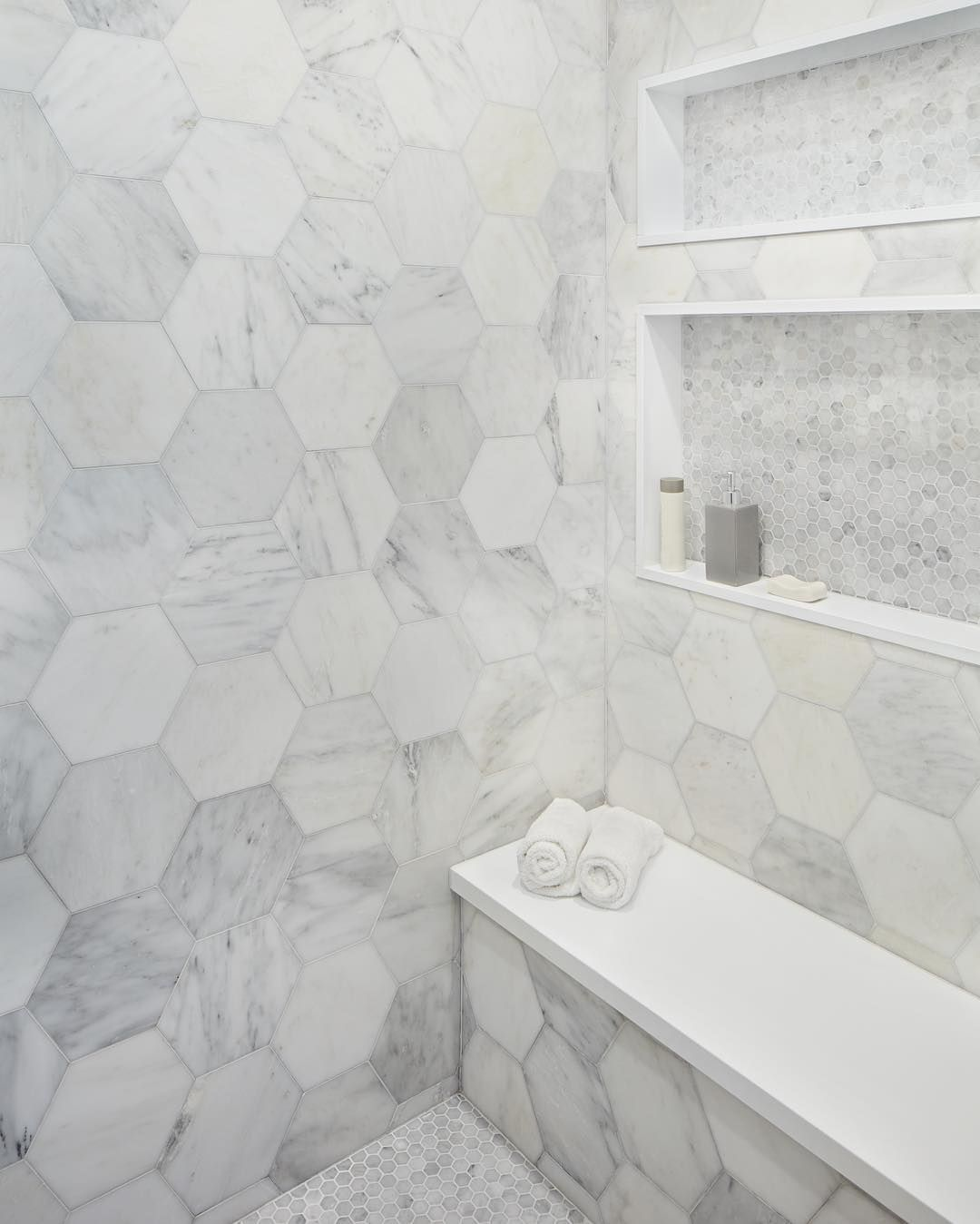 102 Likes 8 Comments Lauren Goldman Lorodesigns On Instagram No Case Of The Mondays For These Lucky Shower Remodel Shower Wall Tile Shower Accent Tile