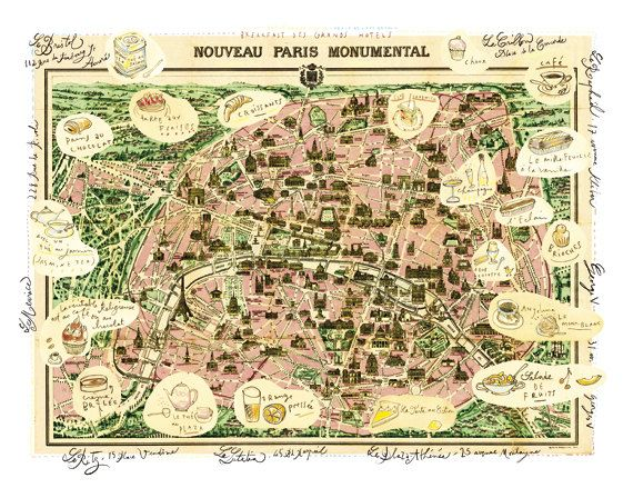 Paris Map Illustration Poster Parisian Hotels On Vintage Paris Map - Hotels map in paris