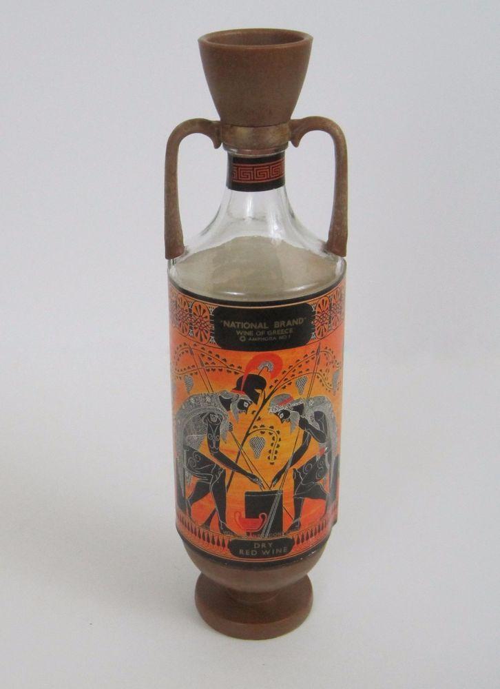 Vtg Wine of Greece National Brand Athens Dry Red 1973 Ouzounis Co Attica EMPTY  #NationalBrand
