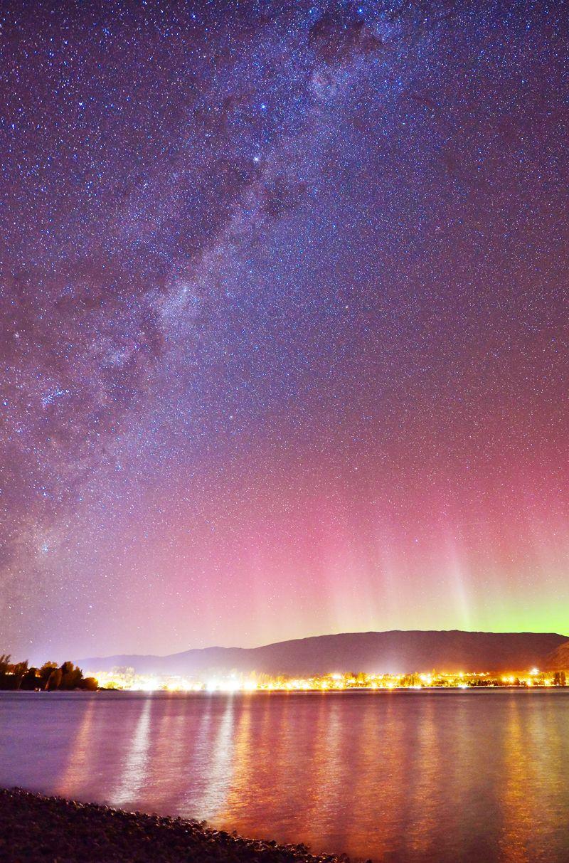 Shooting Stars And Aurora Australis In Wanaka Zealand