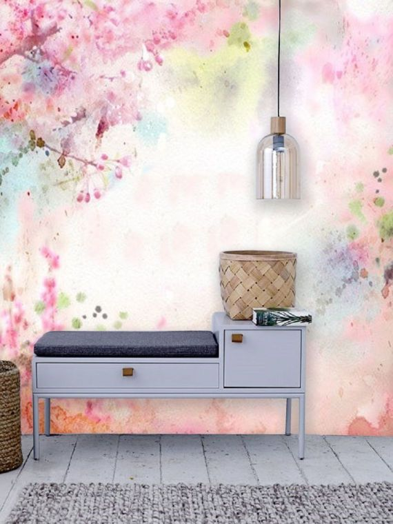 Watercolor Floral Wallpaper Mural Removable Blossom Mural Large Flower Peel Stick Wallpaper Remove Wall Mural Self Adhesive Wall Art 15 In 2021 Watercolor Floral Wallpaper Wall Murals Adhesive Wall Art