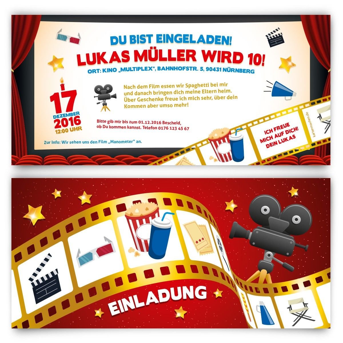 einladungskarten f r kinder zum geburtstag kino film geburtstag einladung. Black Bedroom Furniture Sets. Home Design Ideas