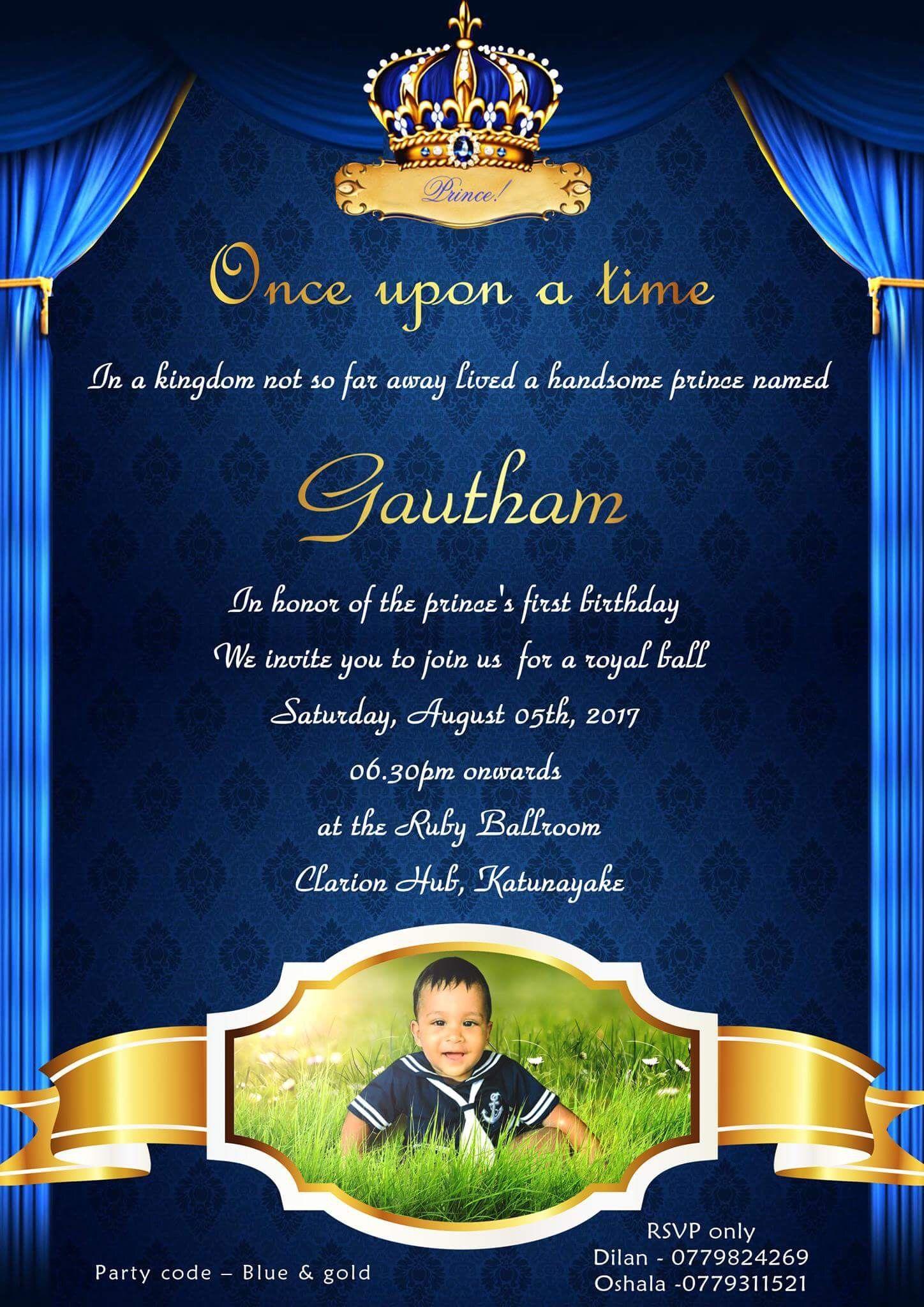 royal prince themed 1st birthday invite