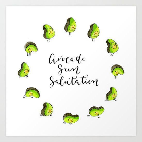 Avocado Sun Salutation. yoga, clock, avocado, sun ...