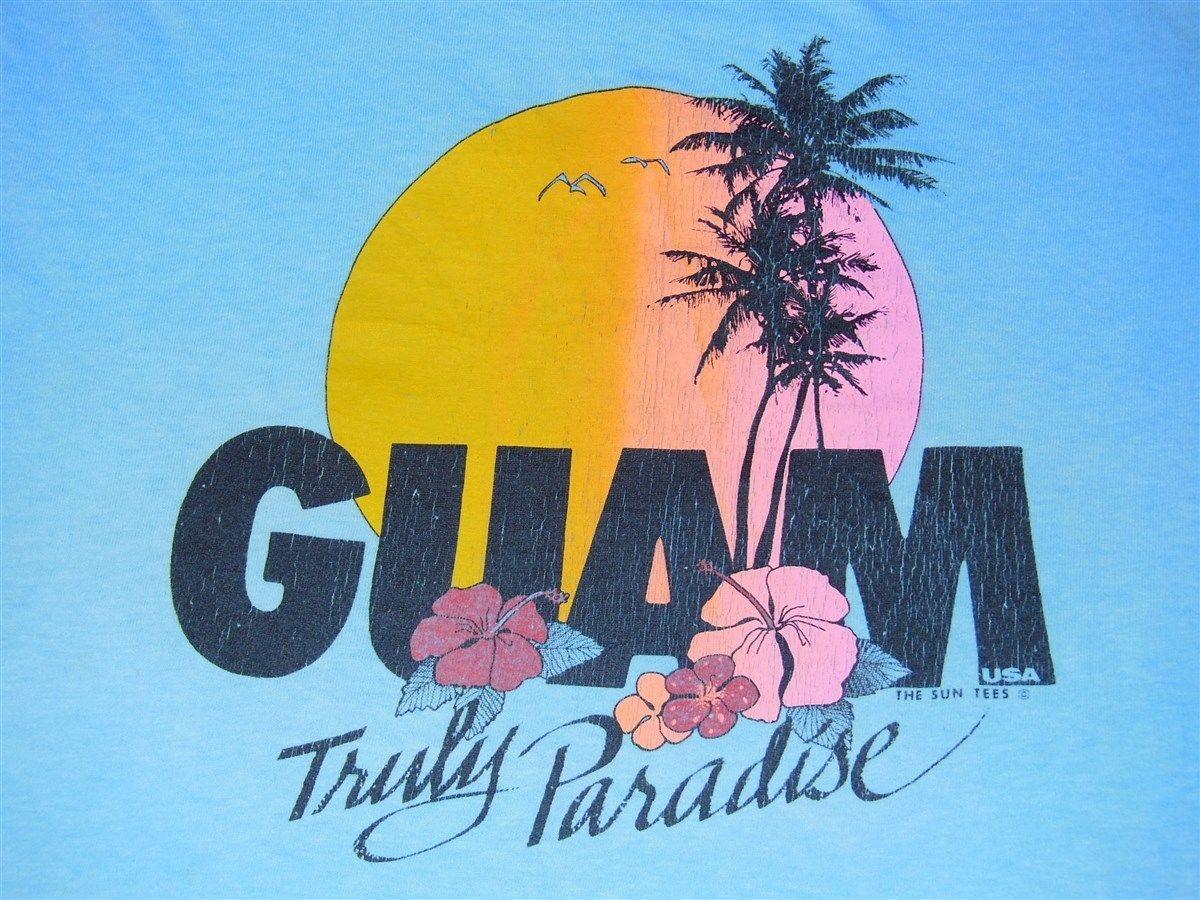 Shirt design blue cotton - Vintage 80s Guam Sunset Truly Paradise Palm Tree Blue Cotton T Shirt Large L Ebay