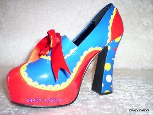 "WOMENS POLKA DOT ""CIRCUS"" HALLOWEEN COSTUME PUMP SHOES 