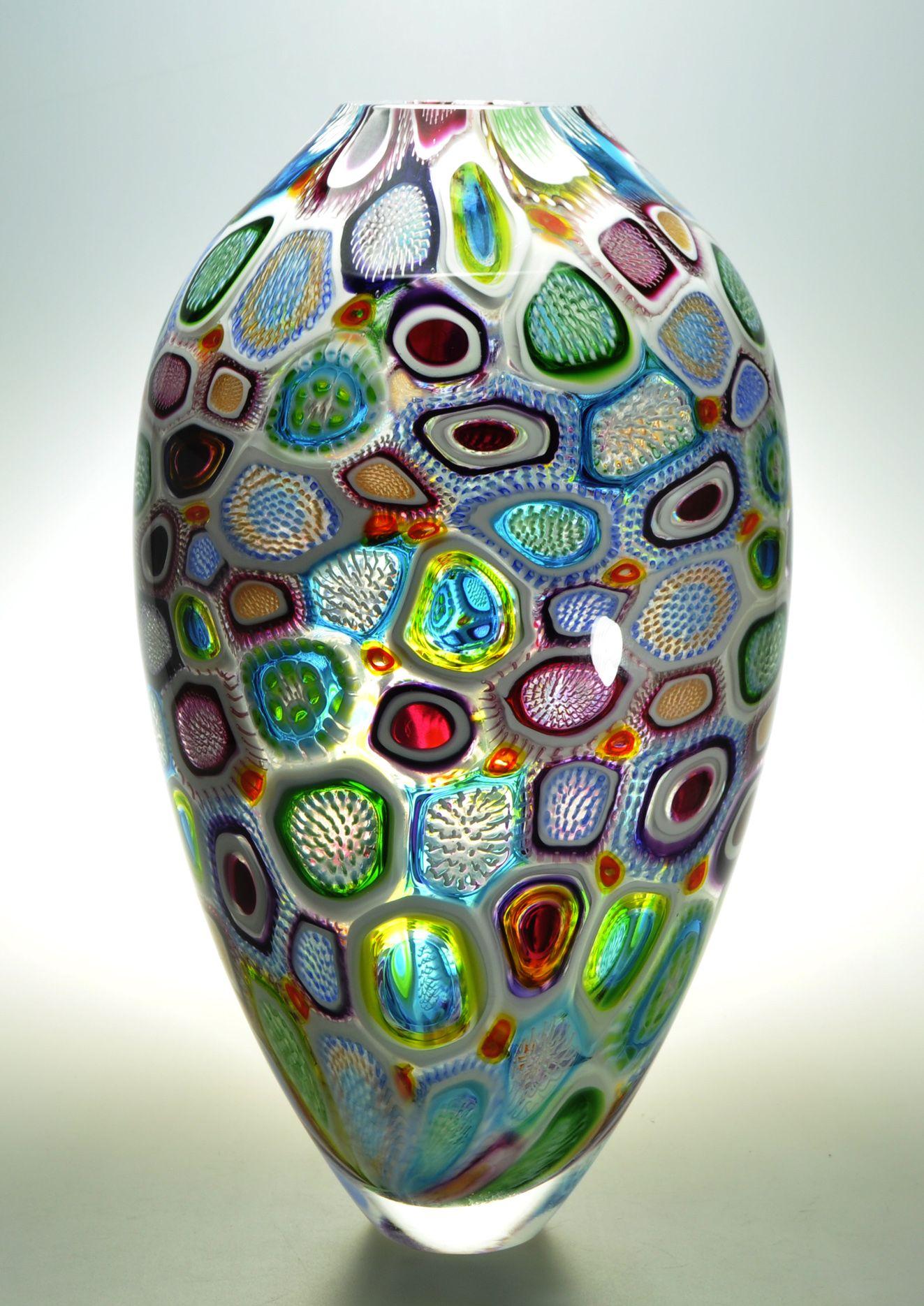 """Murrine Glass Art by Michael Waysmith - """"Arcobaleni Diatom"""" featuring dozens of different murrine."""