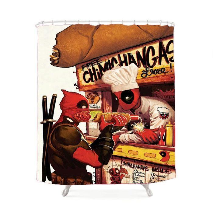 Deadpool Hotdog Shower Curtain Deadpool Comic Deadpool And