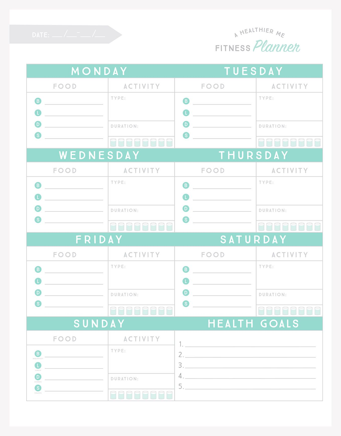 Free Printable Fitness Planner