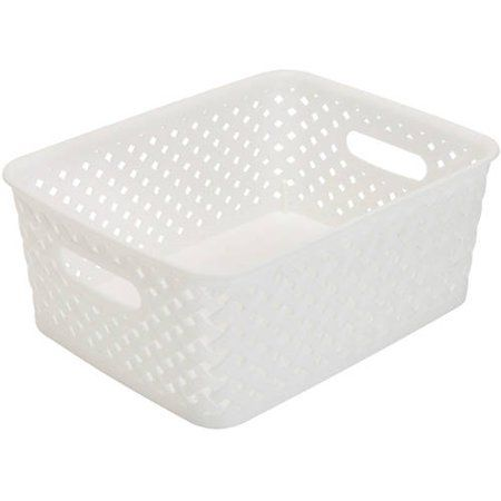 Simplify Resin Wicker Storage Bin Tote Basket Weave Small Black 10x8x4 Walmart Com In 2020 Wicker Storage Bins Resin Wicker Basket Weaving