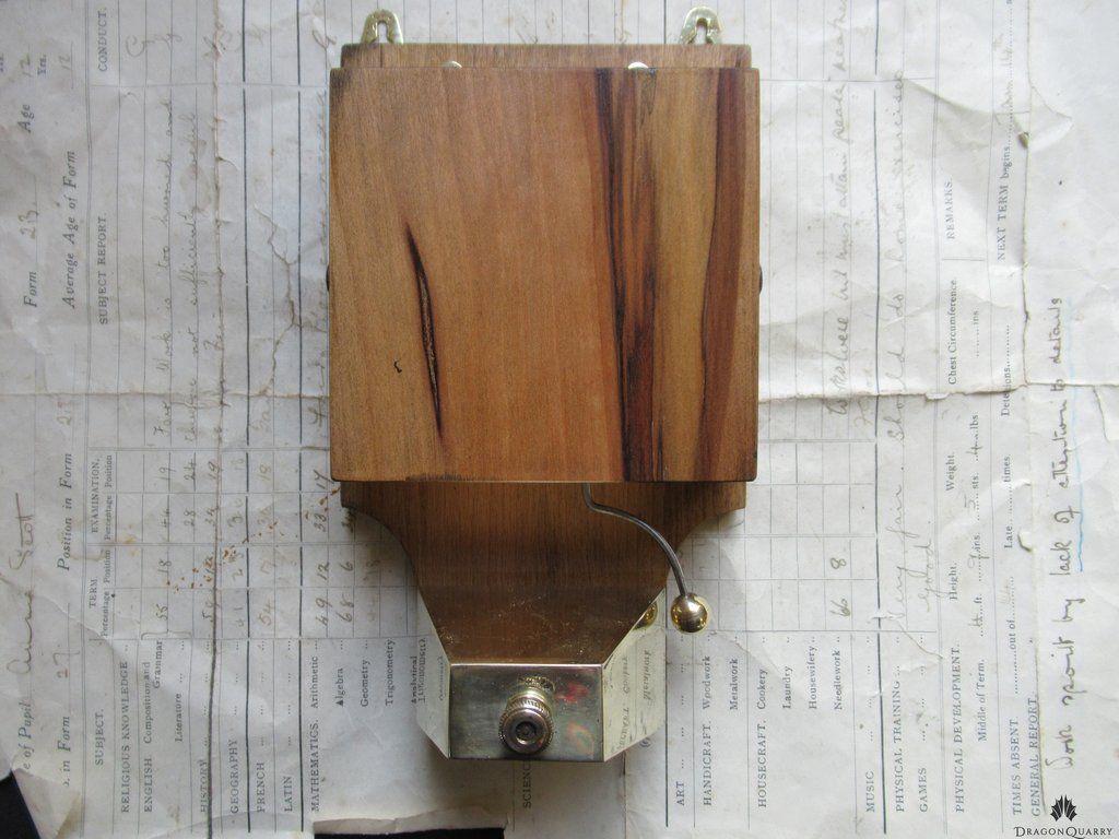 Restored Art Deco Wood & Brass Electric Doorbell
