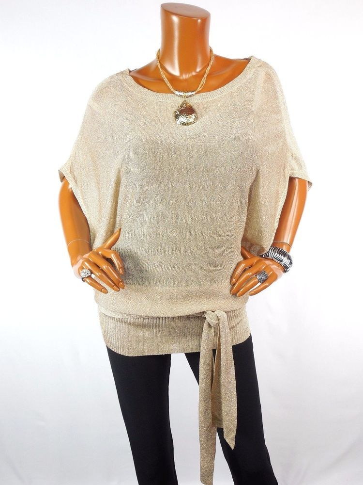 DAISY F Womens Top M Gold Metallic Belted Tunic Blouse Dressy ...