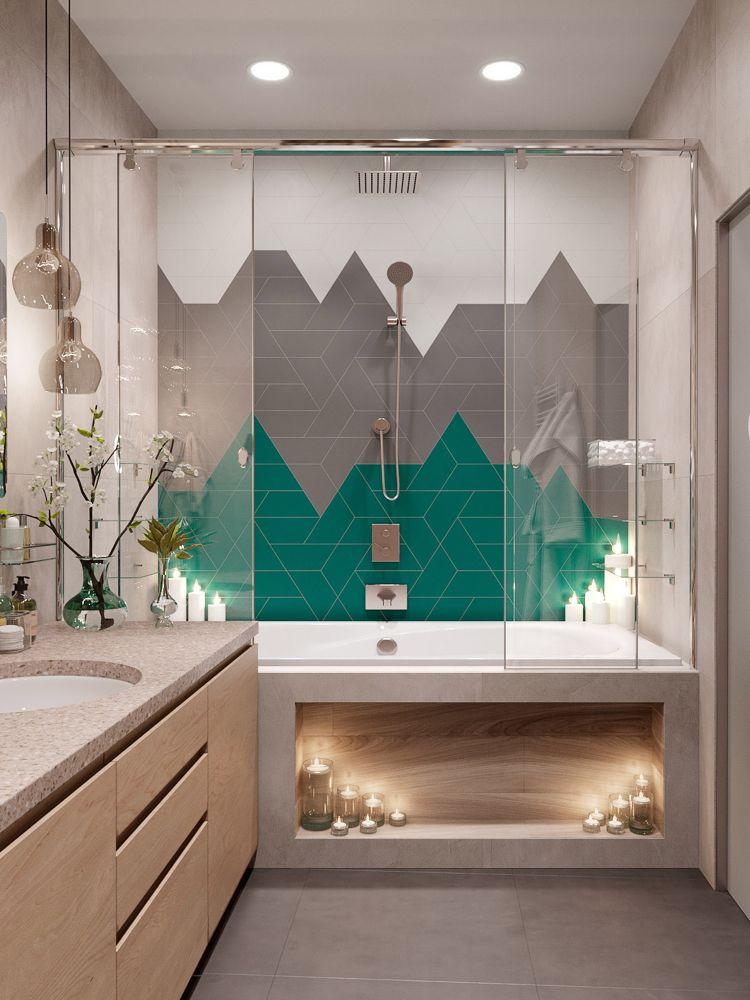 Badezimmer Mit Badewanne Glasschiebetüren Fliesenmuster Grau Grün Weiß  #interiors #design