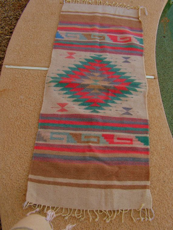 Vintage Zapotec Mexican Blanket Rug Coral Teal Golden