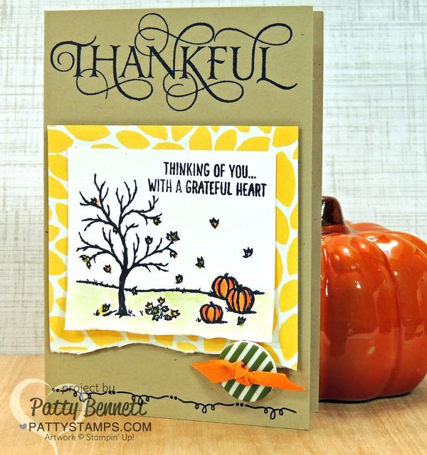 Happy scenes pumpkin fall card with six sayings hostess set thankful happy scenes pumpkin fall card with six sayings hostess set thankful greeting stamped on crumb cake note card from stampin up by patty bennett m4hsunfo