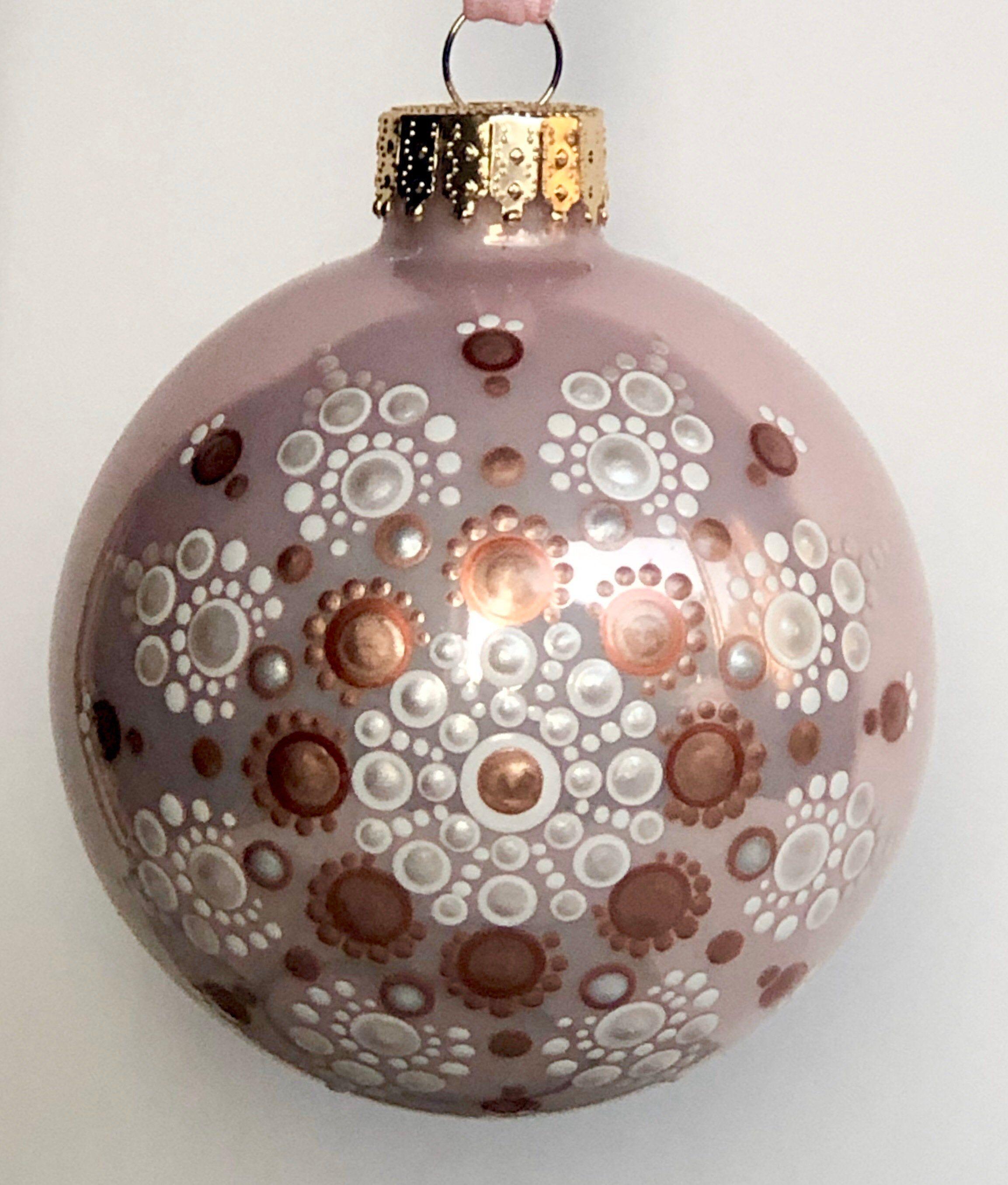Lovely Snowflake Dot Mandala On Soft Pink Glass Ball Ornament Etsy Glass Ball Ornaments Ball Ornaments Christmas Mandala