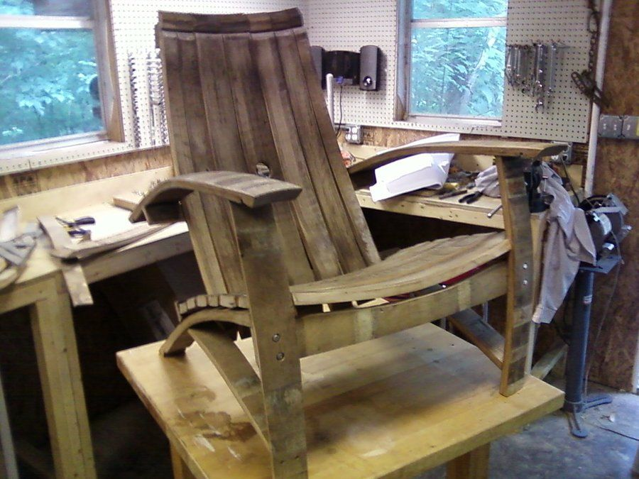 Wine Barrel Adirondack Chair Wood Projects Pinterest