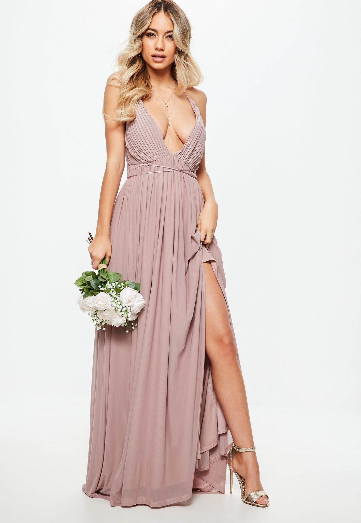 30f71eb2706 Bridesmaid Pink Pleated Mesh Maxi Dress. Order today   shop it like it s hot  at Missguided.