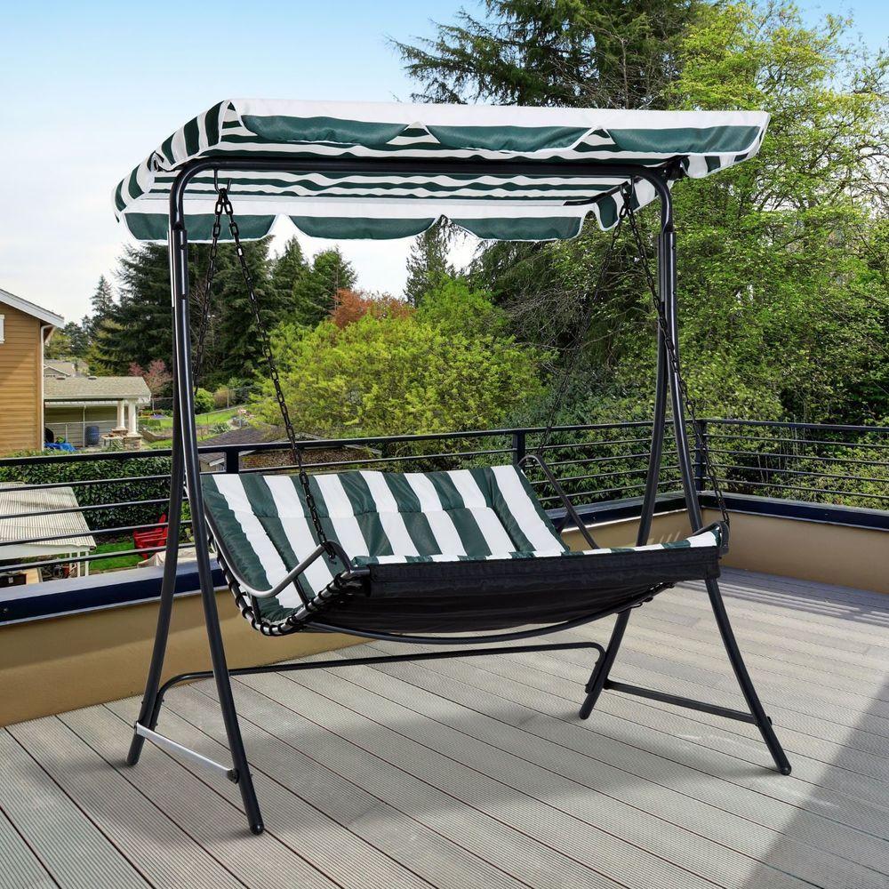 3 Seater Patio Swing Chair Hammock Seat Steel Frame Green White