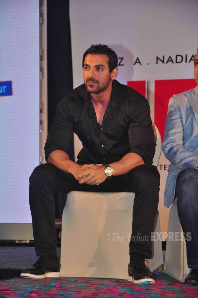 John Abraham at the unveiling of 'Hera Pheri 3' star cast. #Bollywood #Fashion #Style #Handsome