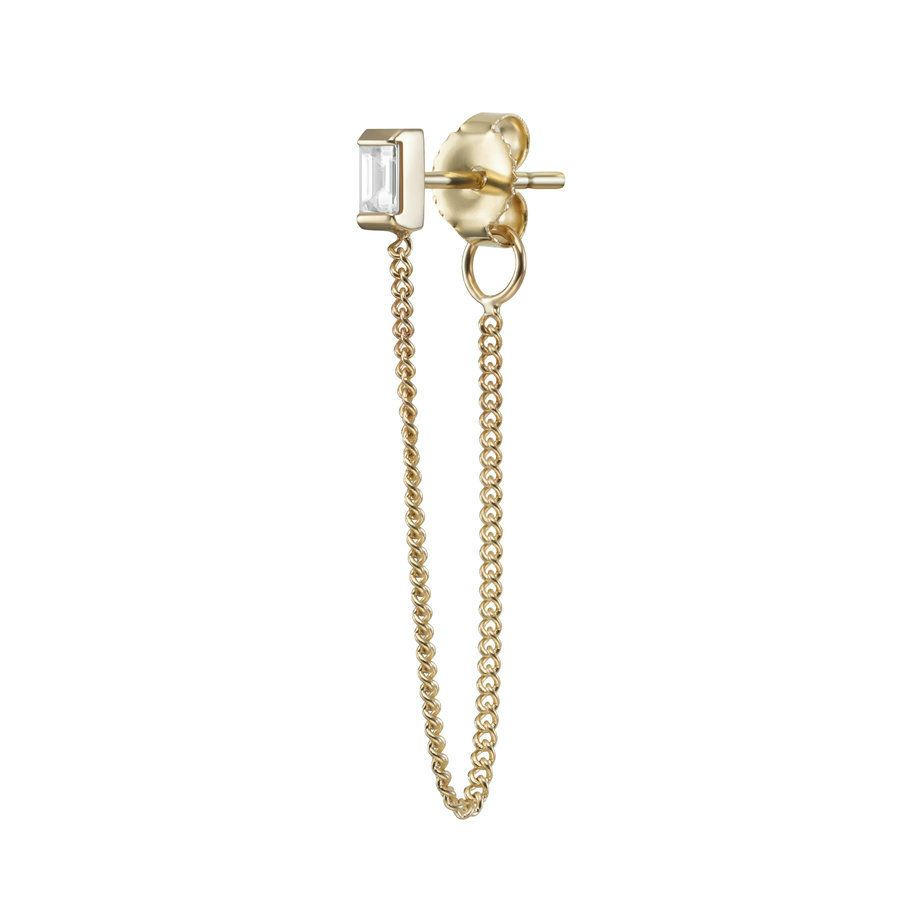 Visibly Interesting: Single chain stud earring set with a diamond baguette post.