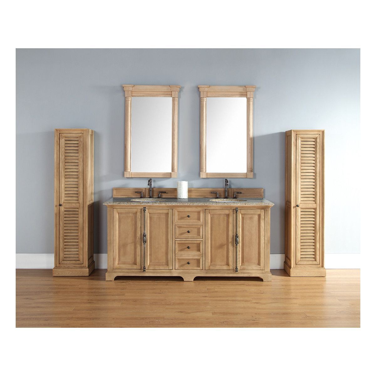 Providence 72 Natural Oak Double Vanity with Stone Top