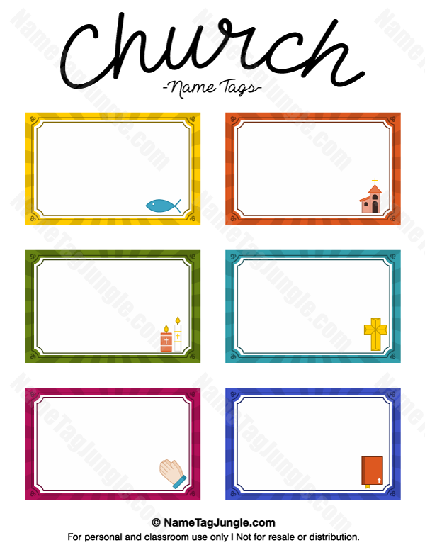 Free printable church name tags. The template can also be used for ...