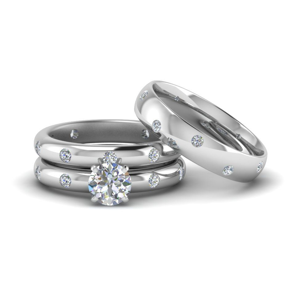Flush Set Trio Matching Diamond Wedding Rings For Couples | Diamond ...
