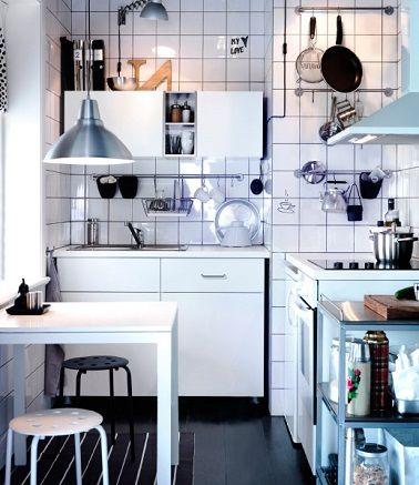 Petite Cuisine Aménagements Déco Gain De Place Tringle - Ustensile de cuisine professionnel pour particulier pour idees de deco de cuisine