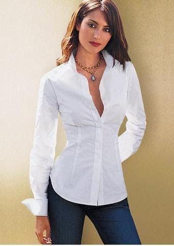 Blusa camisera blanca de popelina  39dbce1e4d2