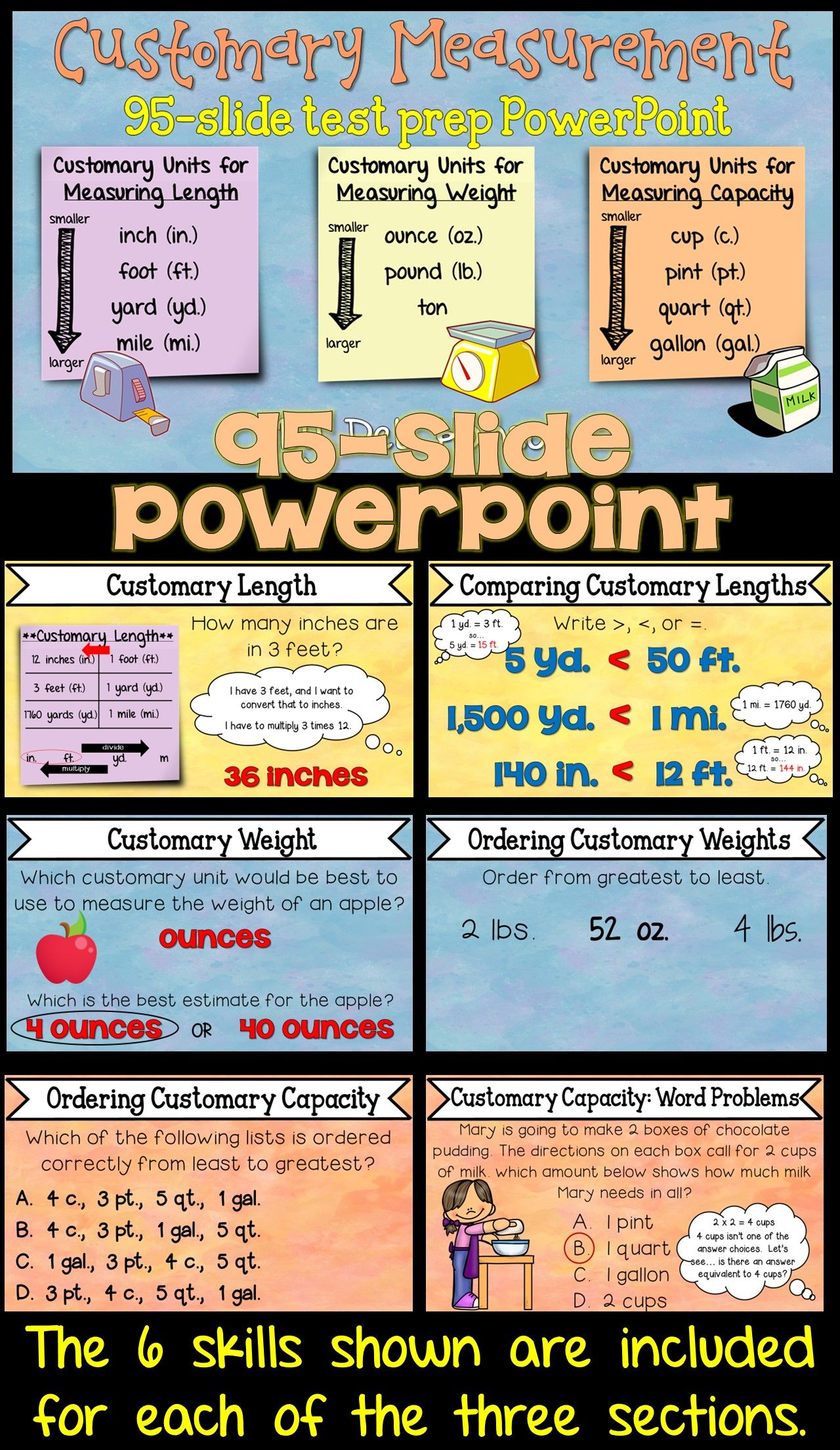 Customary Measurements Powerpoint Length Weight And