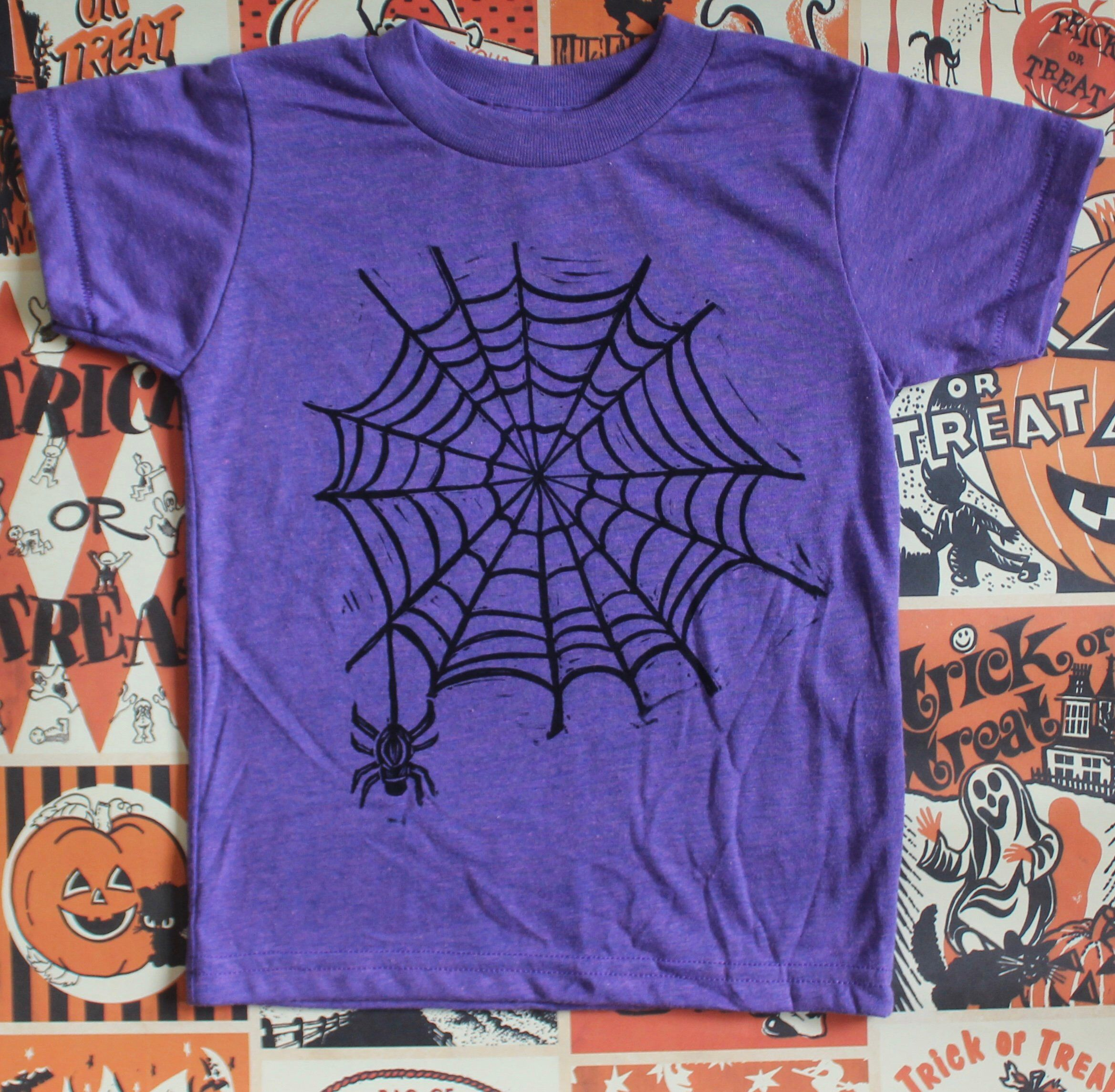 Trick Or Treat with Spider Webs T-Shirt for Women Halloween Tee