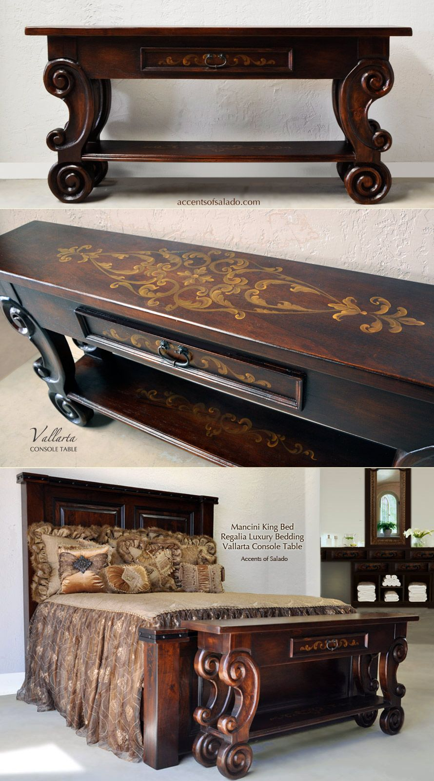Old World Tuscan Sofa Table... Vallarta Hand Painted Table ...