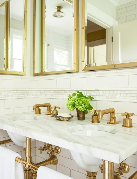 Marble Dual Washstand With Brass Base And Aged Brass Faucets Transitional Bathroom Antique Brass Bathroom Faucet Gorgeous Bathroom Brass Bathroom Faucets