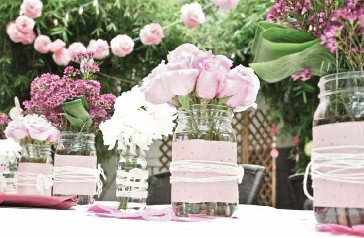 einweckgläser mit stoff und garn dekorieren - rosa-weiß-motto, Best garten ideen